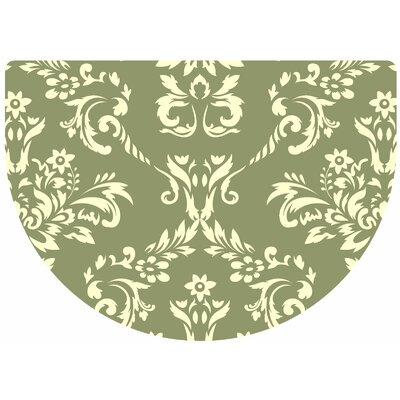 Justina Damask Kitchen Mat Rug Size: 22 x 31 Half Round, Color: Sage