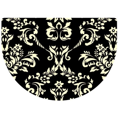 Justina Damask Kitchen Mat Rug Size: 22 x 31 Half Round, Color: Onyx
