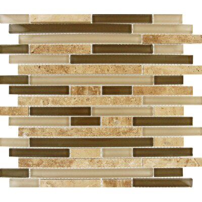 Tuscany Walnut Random Sized Glass and Natural Stone Mosaic Tile in Beige