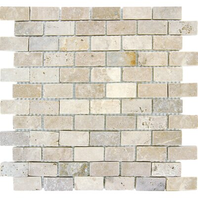 Noce/Chiaro Mini Brick 0.63 x 0.63 Natural Stone Mosaic Tile in Brown