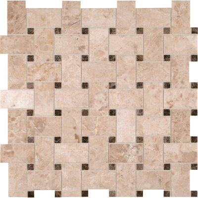 Basket Weave Random Sized Natural Stone Mosaic Tile in Crema Cappuccino