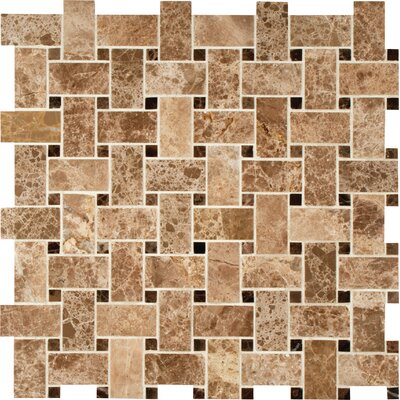 Basket Weave Random Sized Natural Stone Mosaic Tile in Emperador Light
