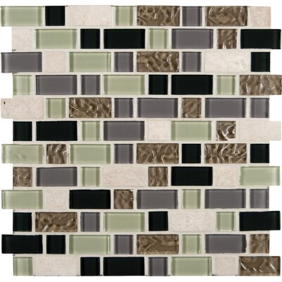 Random Sized Glass and Natural Stone Mosaic Tile in Beige