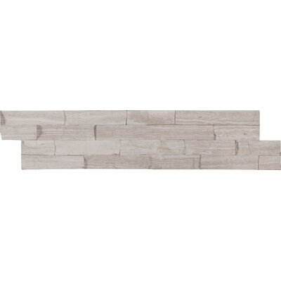 6 x 24 Marble Splitface Tile in Gray (Set of 4)
