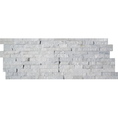 6 x 24 Stone Marble Splitface Tile in Arctic White (Set of 4)