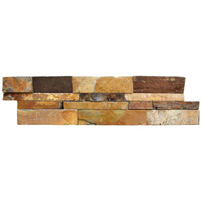 6 x 24 Natural Stone Splitface Tile in Brown (Set of 4)