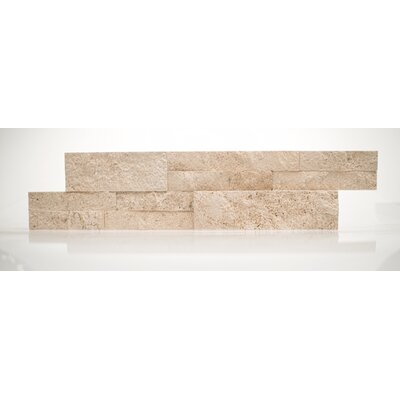 6 x 24 Travertine Splitface Tile in Textured Durango Cream (Set of 3)