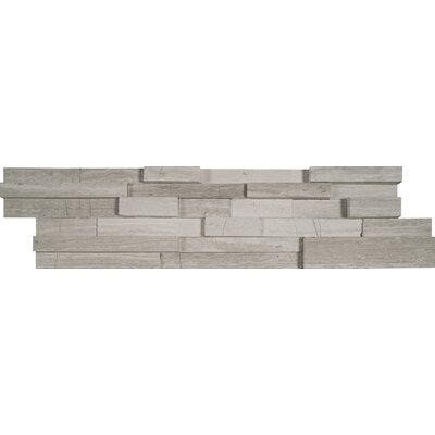 6 x 24 3D Honed Panel Random Sized Natural Stone Splitfaced Tile in White Oak (Set of 4)