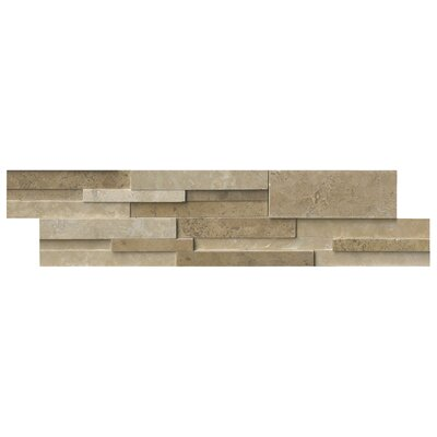 Casa 6 x 24 Blend 3D Honed Panel Random Sized Natural Stone Splitfaced Tile in Cream