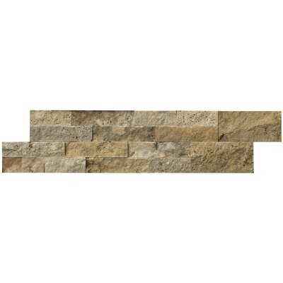 Tuscany 6 x 24 Travertine Panel Random Natural Sized Stone Splitfaced Tile in Brown and Gold (Set of 3)