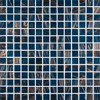 0.75 x 0.75 Glass Mosaic Tile in Blue Iridescent