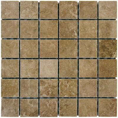 Travertine 2 x 2 Porcelain Mosaic Tile in Walnut