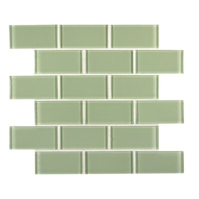 Crystallized 2 x 4 Glass Mosaic Tile in Mint Green