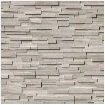 3D Honed Corner L-Panel 6 x 24 Marble Splitfaced Tile in White Oak