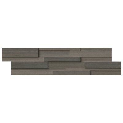 Wave 6 x 24 3D Honed Panel Random Sized Natural Stone Splitfaced Tile in Brown (Set of 4)