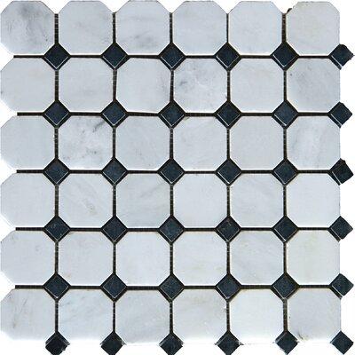 Arabescato Carrara 2 x 2 Octagon & Dot Marble Mosaic Tile