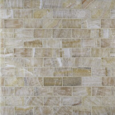 Giallo Crystal Random Sized Onyx Mosaic Tile in Gold