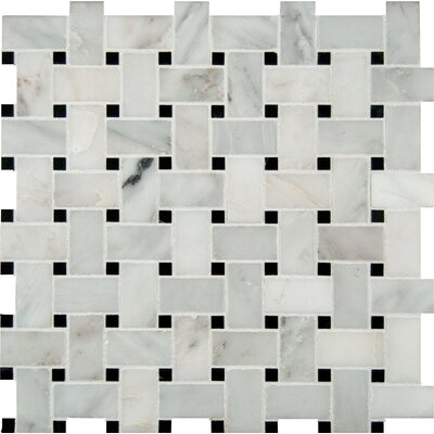 Basket Weave Pattern Random Sized Natural Marble Mosaic Tile in White