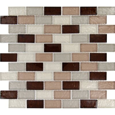 Ayres Mounted 1 x 2 Glass Mosaic Tile in Multi