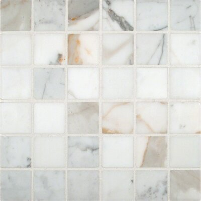 Calacatta Gold Mounted 2 x 2 Marble Mosaic Tile in White
