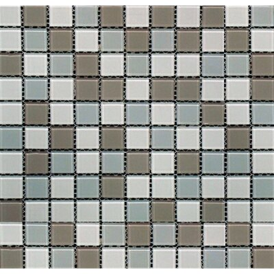 Majestic Ocean Mini Brick Mounted Glass Mosaic Tile in White and Grey