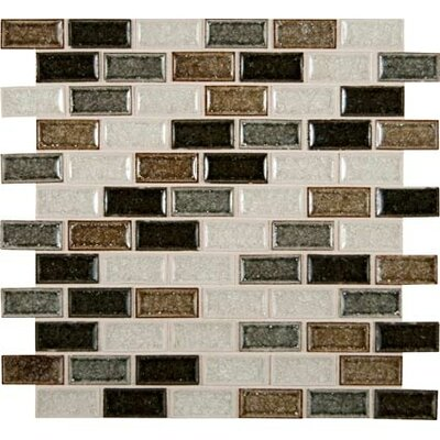 Sandy Beaches Mounted 1 x 2 Glass Mosaic Tile in Multi