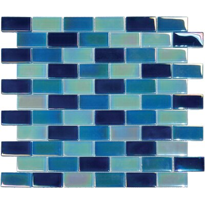 Crystallized 1 x 2 Glass Mosaic Tile in Iridescent Blue