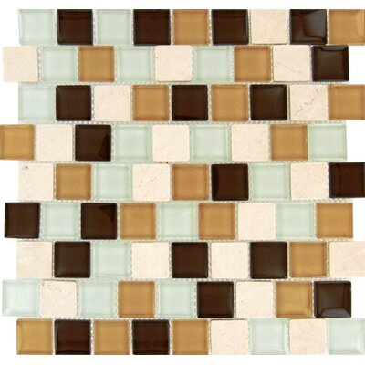 Desert Mirage 1.25 x 1.25 Glass and Stone Mosaic Tile in 4 Color Blend