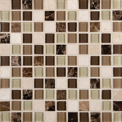Emperador 1 x 1  Glass and Natural Stone Mosaic Tile in Beige