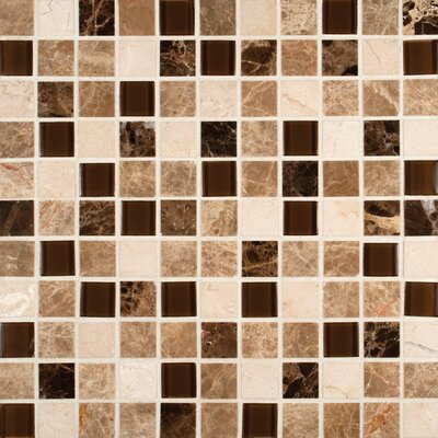 Emperador 1 x 1  Glass and Natural Stone Mosaic Tile in Brown