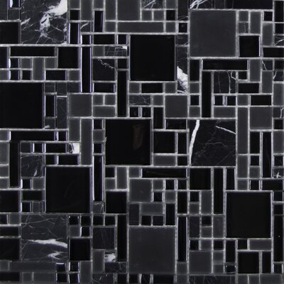 Random Sized Glass Mosaic Tile in Black Marble