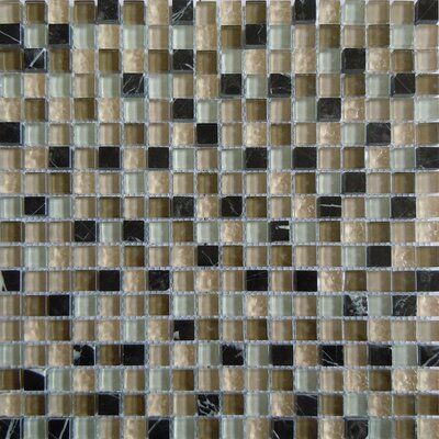 0.63 x 0.63 Glass and Natural Stone Mosaic Tile in Beige