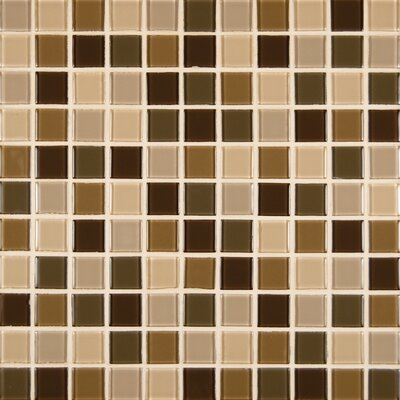 Spring Leaf Mounted 1 x 1 Glass Mosaic Tile in Beige