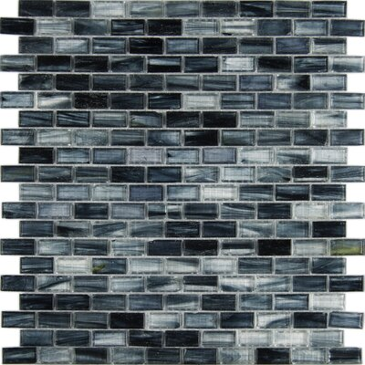 Iced 1 x 2 Glass Mosaic Tile in Blue