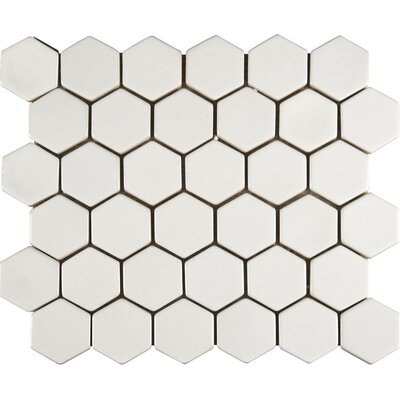 Hexagon Ceramic Mosaic Tile in Whisper White