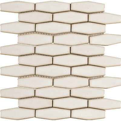 Elongated Hexagon 12 x 12 Ceramic Mosaic Tile in Antique White
