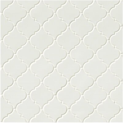 Arabesque Ceramic Mosaic Tile in Whisper White