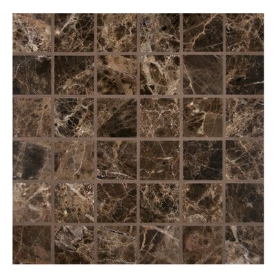 2 x 2 Marble Mosaic Tile in Polished Brown