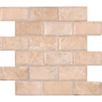 Tuscany Ivory Mounted 2 x 4 Travertine Subway Tile in Ivory