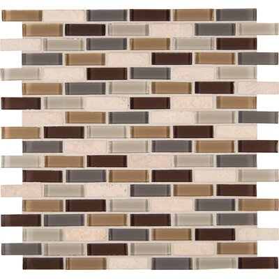 Tumbled 1 x 2 Glass Mosaic Tile in Luxor Valley Blend