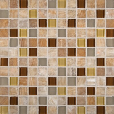 1 x 1 Glass Mosaic Tile in Glossy Honey Caramel