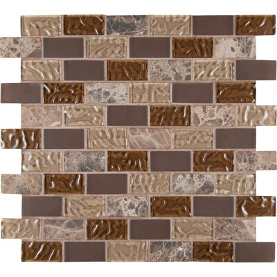 Sonoma Blend 1 x 2 Glass and Natural Stone Subway Tile in Brown