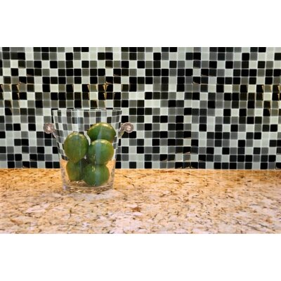 Crystallized 1 x 1 Glass Mosaic Tile in Black