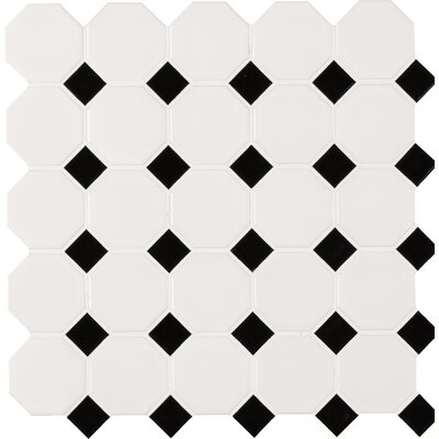 2 x 2 Porcelain Mosaic Tile in White/Black