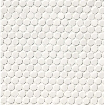 Penny Round Porcelain Mosaic Tile in Glossy White