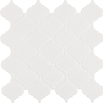 Arabesque Porcelain Mosaic Tile in White