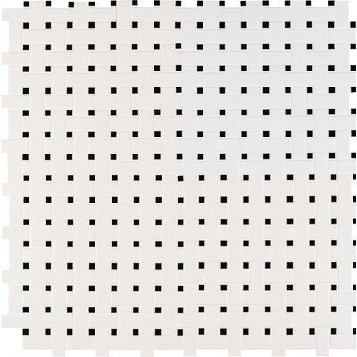 Basket Weave Random Sized Porcelain Mosaic Tile in White/Black