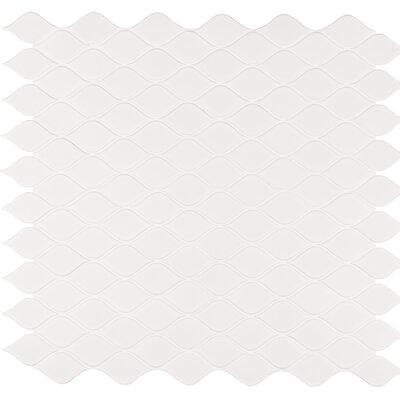 Tear Drop Porcelain Mosaic Tile in White