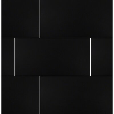 Domino 12 x 24 Porcelain Subway Tile in Polished Black