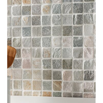 2 x 2 Slate Mosaic Tile in Golden White